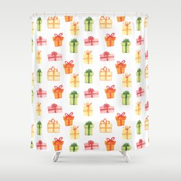 Bright Hand Drawn Watercolor Gift Package Pattern Shower Curtain