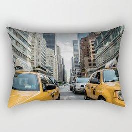 Taxis on New York City Street Rectangular Pillow