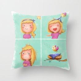 An Episode with a Bird Throw Pillow