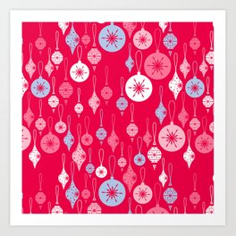 Christmas Baubles - Red Art Print