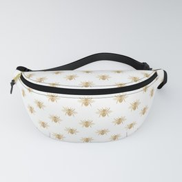 Gold Metallic Faux Foil Photo-Effect Bees on White Fanny Pack