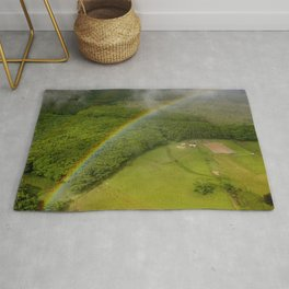 Hawaiian Rainbow Over Valley in Kauai: Aerial View Rug