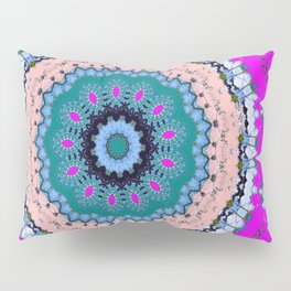 Lovely Healing Mandala  in Brilliant Colors: Black, Teal, Blue, Pink and Fuschia Pillow Sham
