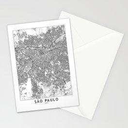 Sao Paulo White Map Stationery Cards