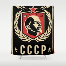 Emblem Lenin Face & CCCP Black Shower Curtain