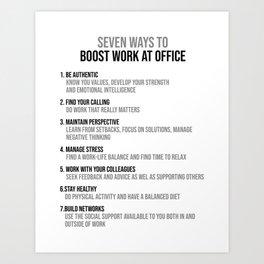 Boost Work At Office, Office Decor Ideas, Wall Art Art Print