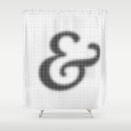 Halftone Ampersand Serif Shower Curtain