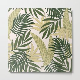 Abstract seamless tropical pattern with bright plants and leaves on a pastel background. Seamless exotic pattern with tropical plants. Summer colorful hawaiian. Metal Print