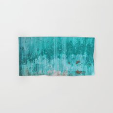 Weathered turquoise concrete wall texture Hand & Bath Towel