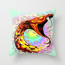 Snake Attack Psychedelic Art Throw Pillow
