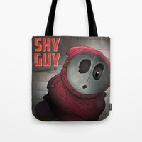 health Tote Bags featuring Shy Guy - Mushroom Health by dann matthews