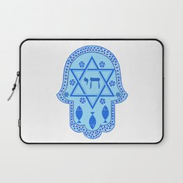 Hamsa for blessings - david shield - blue Laptop Sleeve