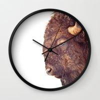 bull Wall Clocks featuring Bull by BonZeye Studio