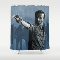 rick grimes Shower Curtains featuring Rick and the Undead by Richtoon
