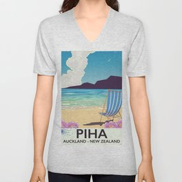 Piha New Zealand vacation poster Unisex V-Neck