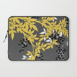 TREE BRANCHES YELLOW GRAY  AND BLACK LEAVES AND BERRIES Laptop Sleeve