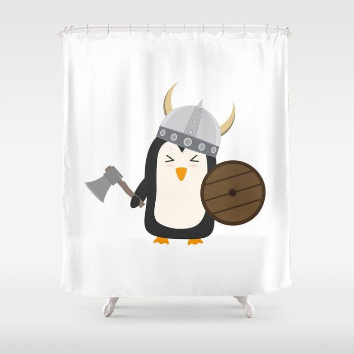 Penguin Viking Shower Curtain