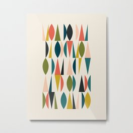 Mid Century Modern Abstract Colorful Shapes Funky Cool Minimalist Pattern Metal Print