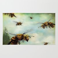 bees Area & Throw Rugs featuring Crown of Bees by Rachael Shankman