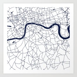 London White on Navy Street Map Art Print