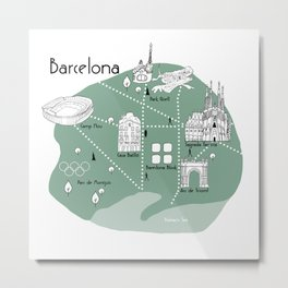 Mapping Barcelona - Green Metal Print