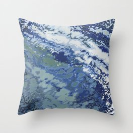 Deep Blue Ocean Wake Throw Pillow