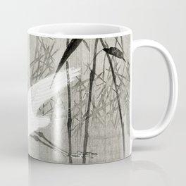 Egrets flying over the swamp - Japanese vintage woodblock print art Coffee Mug