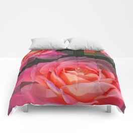 Rose Abstract des 1, Abstract, Pixilate, Geometric, Digital Comforters