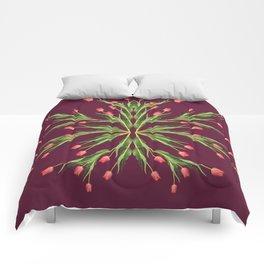 Burgundy and tulips Comforters