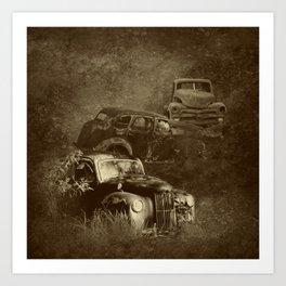 Cars in the jungle Art Print