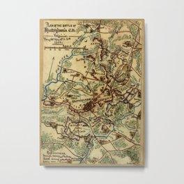 Vintage Spotsylvania Virginia Civil War Map (1865) Metal Print