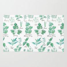 green herbs family watercolor Rug