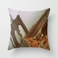 brooklyn bridge Throw Pillows featuring Brooklyn Bridge  by S|Tarah