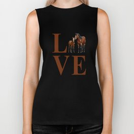 Love Horses Bay Mare and Cute Foal Biker Tank