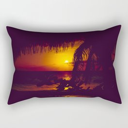 Kamaole Tropical Nights Sunset Gold Purple Palm Rectangular Pillow