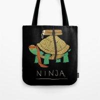 ninja turtle Tote Bags featuring ninja - orange by Louis Roskosch