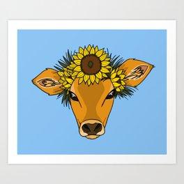 Flower Cow Art Print