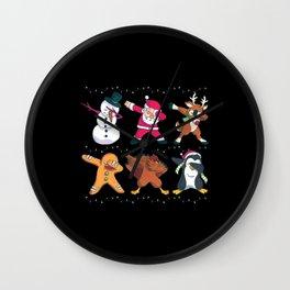 Christmas Dabbing Nicholas Holidays Gift Wall Clock