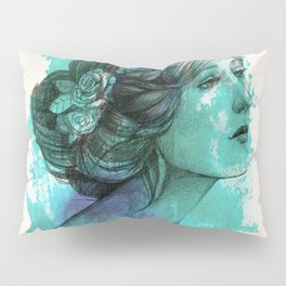 Woman with floral wreath in watercolor Pillow Sham