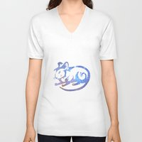 zodiac V-neck T-shirts featuring Rat zodiac  by Julie Luke