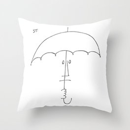Saul Steinberg Man With Umbrella, American Cartoonist Artwork Reproduction for Prints Posters Tshirt Throw Pillow