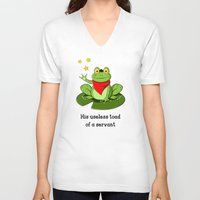 merlin V-neck T-shirts featuring Merlin the Useless Toad by sirwatson