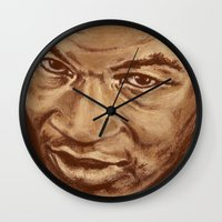 mike wrobel Wall Clocks featuring mike by noblackcolor