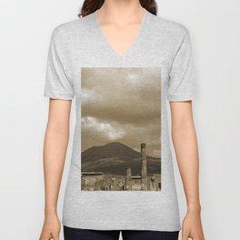 Mount Vesuvius looking down on Pompeii Unisex V-Neck