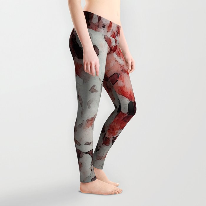 The Faces in the Ruby Red Snow Leggings