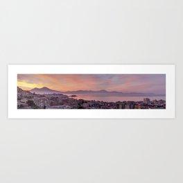 Napoli, landscape with volcano Vesuvio and sea Art Print