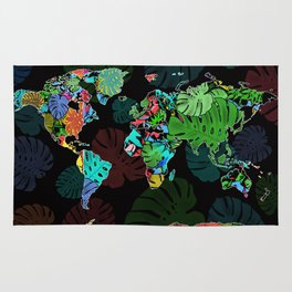 world map tropical leaves Rug