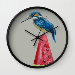 Kingfisher on ice 4 Wall Clock