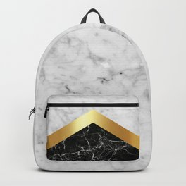 Arrows - White Marble, Gold & Black Granite #147 Backpack