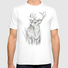 White-Tailed  White Mens Fitted Tee MEDIUM